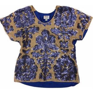 Tracy Reese Sequin Top Blouse Blue V Neck  SZ XS